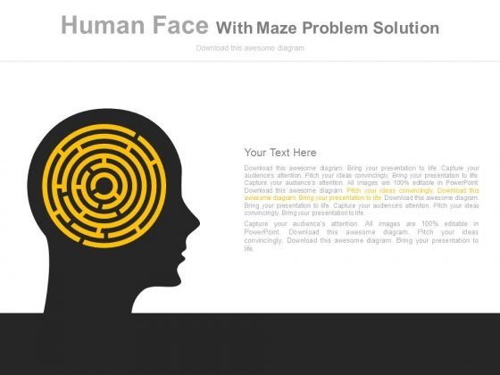 Human Brain With Maze For Complex Process Powerpoint Template