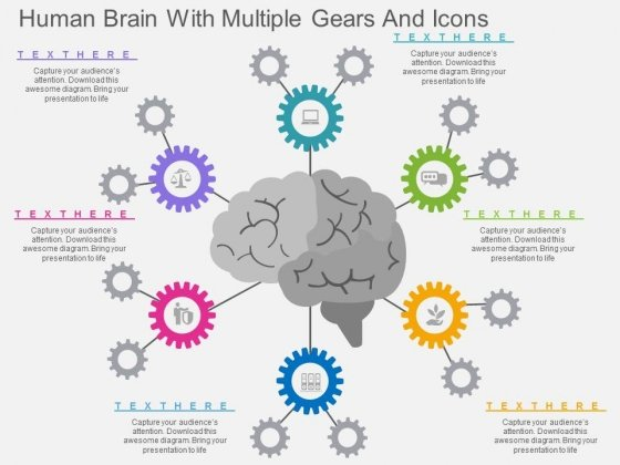 Human Brain With Multiple Gears And Icons Powerpoint Template