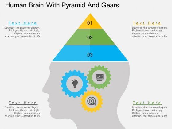 Human Brain With Pyramid And Gears Powerpoint Templates