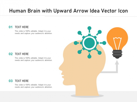 Human Brain With Upward Arrow Idea Vector Icon Ppt PowerPoint Presentation Infographic Template Model PDF