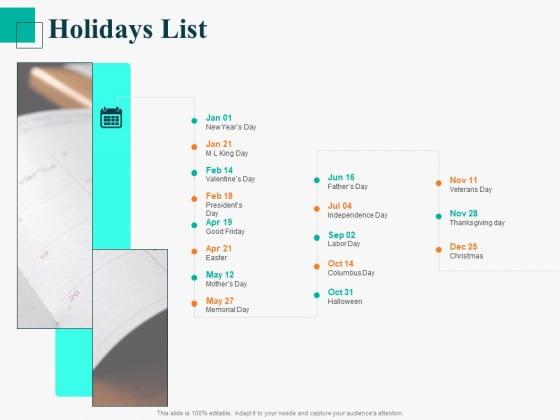 Human Capital Management Procedure Holidays List Ppt Professional Layout Ideas PDF