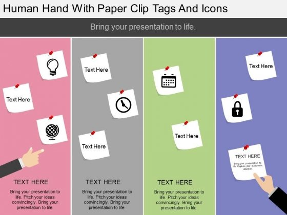 Human Hand With Paper Clip Tags And Icons Powerpoint Template