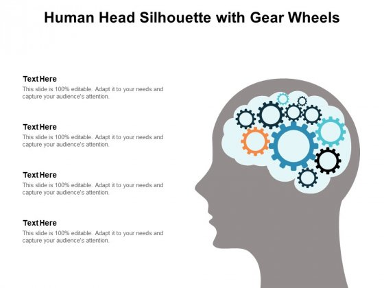 Human Head Silhouette With Gear Wheels Ppt PowerPoint Presentation Show Portrait