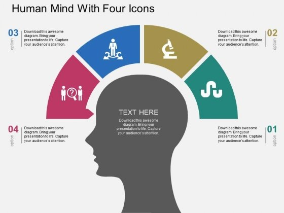 Human Mind With Four Icons Powerpoint Template