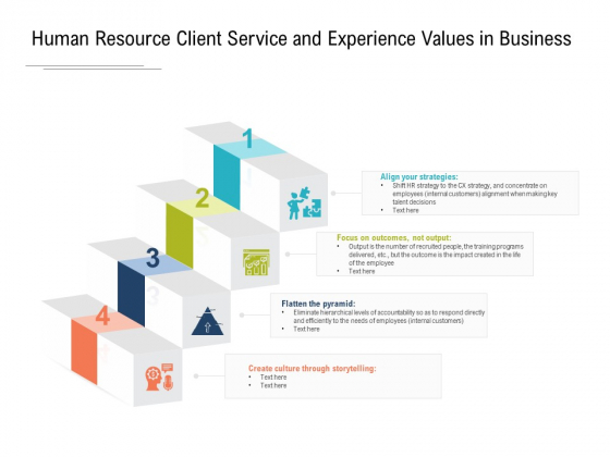 Human Resource Client Service And Experience Values In Business Ppt PowerPoint Presentation Infographics Example PDF