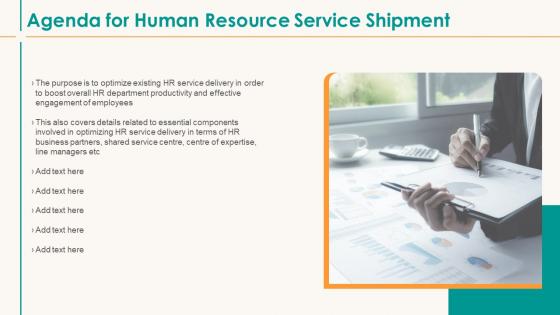 Human Resource Service Shipment Agenda For Human Resource Service Shipment Pictures PDF