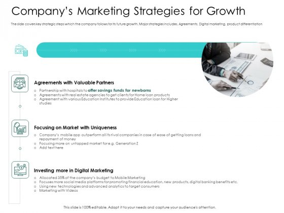 Hybrid Investment Pitch Deck Companys Marketing Strategies For Growth Inspiration PDF