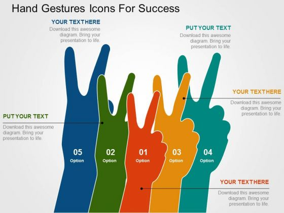 Hand Gestures Icons For Success PowerPoint Template