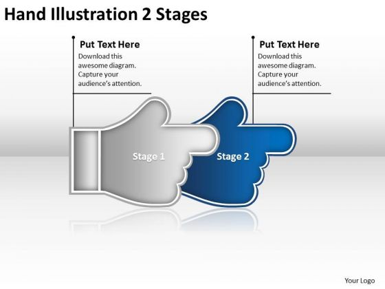 Hand Illustration 2 Stages Flow Charting PowerPoint Slides