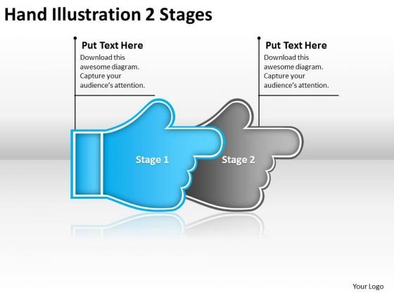 Hand Illustration 2 Stages Ppt Flow Charting PowerPoint Slides