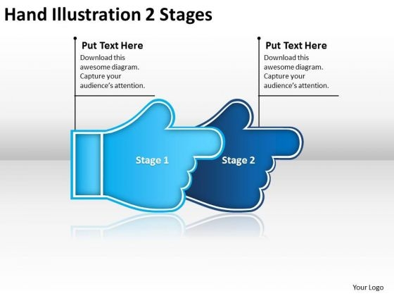 Hand Illustration 2 Stages Process Flow Chart For Manufacturing PowerPoint Slides