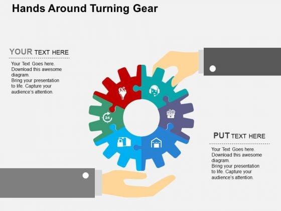 Hands Around Turning Gear PowerPoint Template