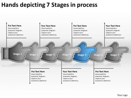Hands Depicting 7 Stages Process Business Business Modeling PowerPoint Slides