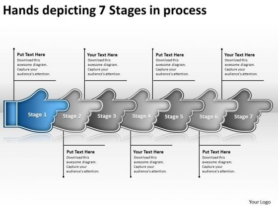 Hands Depicting 7 Stages Process Flow Chart Maker Free PowerPoint Slides