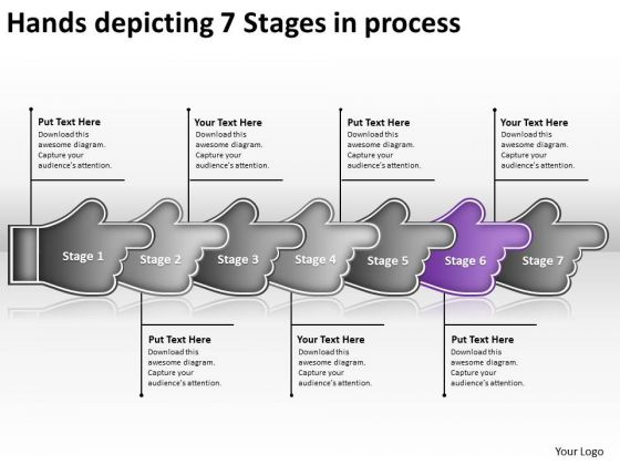 Hands Depicting 7 Stages Process Ppt Change Order Flow Chart PowerPoint Slides