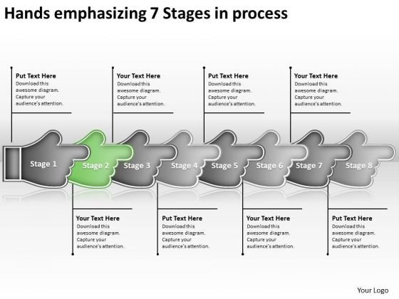 Hands Emphasizing 7 Stages Process Business Work Flow Charts PowerPoint Slides