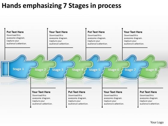 Hands Emphasizing 7 Stages Process Make Flowchart PowerPoint Templates