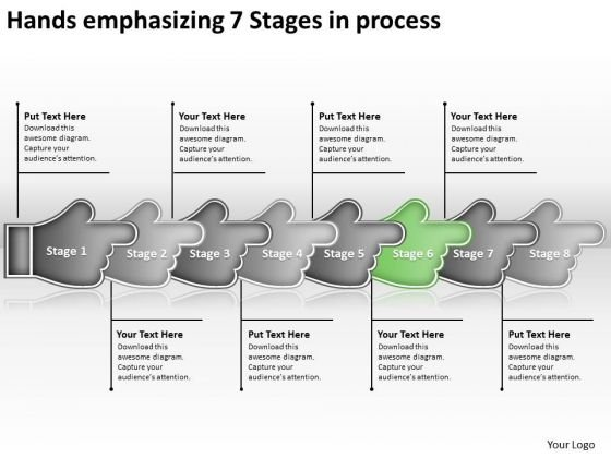 Hands Emphasizing 7 Stages Process Ppt Flow Chart For Manufacturing PowerPoint Templates