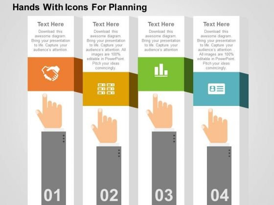 Hands With Icons For Planning PowerPoint Template