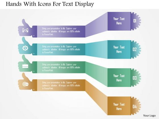 Hands With Icons For Text Display PowerPoint Template