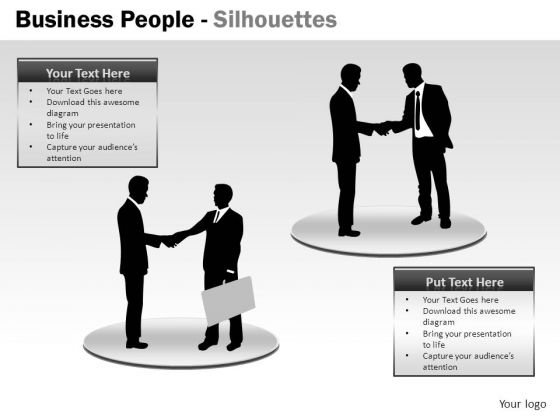 Handshake Business People Silhouettes PowerPoint Slides And Ppt Diagram Templates