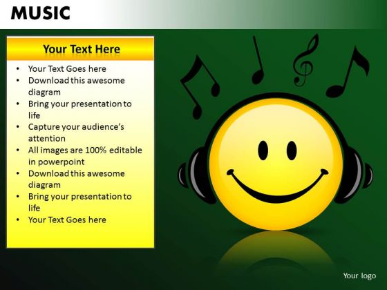 Happy Listening To Music PowerPoint Templates Editable Ppt Slides
