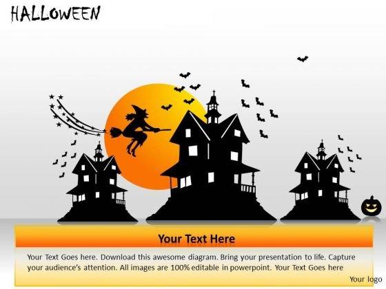 Haunted House Witch Broom PowerPoint Templates Ppt Slides