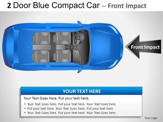 Headlight Design 2 Door Blue Car Top PowerPoint Slides And Ppt Diagram Templates