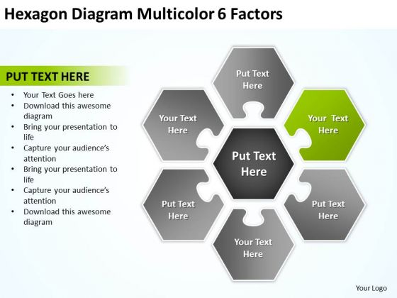 Hexagon Diagram Multicolor 6 Factors Business Plan PowerPoint Slides