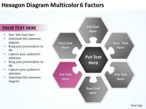 Hexagon Diagram Multicolor 6 Factors Cell Phone Business Plans PowerPoint Slides