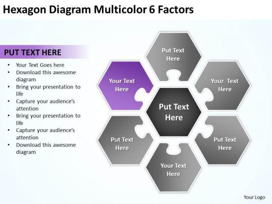 Hexagon Diagram Multicolor 6 Factors Ppt Business Continuity Plan PowerPoint Templates