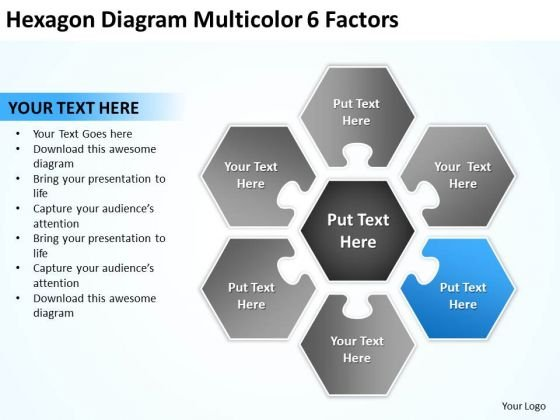 Hexagon Diagram Multicolor 6 Factors Sample Sales Business Plan PowerPoint Templates