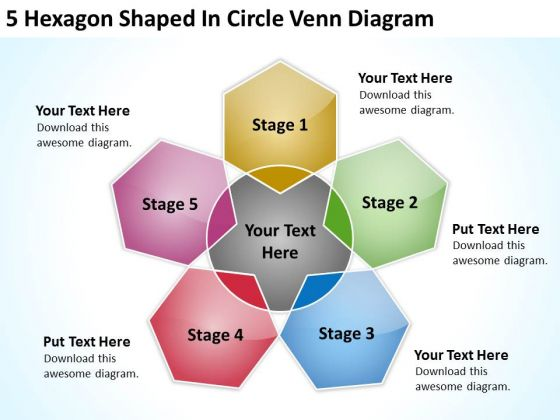 Hexagon Shaped In Circle Venn Diagram Business Plan Software PowerPoint Templates