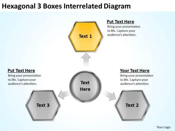 Hexagonal 3 Boxes Interrelated Diagram How Do Business Plan PowerPoint Templates