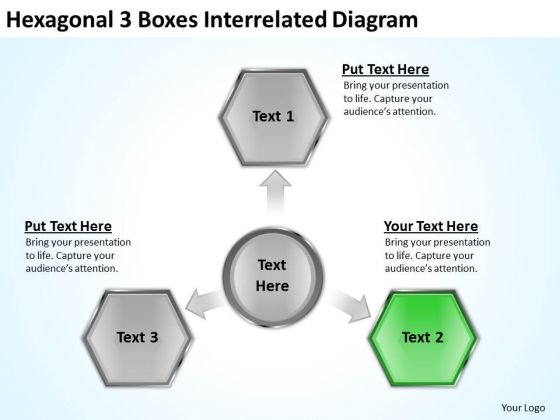 Hexagonal 3 Boxes Interrelated Diagram Ppt Business Plans Free Templates PowerPoint Slides