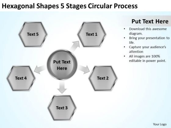 Hexagonal Shapes 5 Stages Circular Process Business Plan PowerPoint Slides
