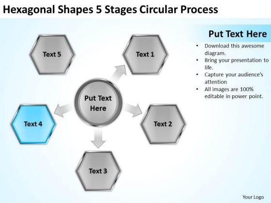 Hexagonal Shapes 5 Stages Circular Process Ppt Sample Of Small Business Plan PowerPoint Slides