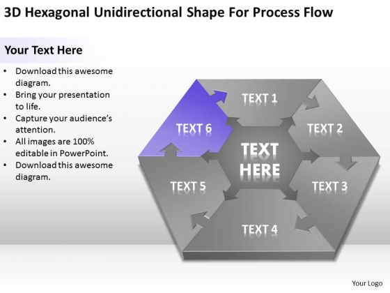 Hexagonal Unidirectional Shape For Process Flow Ppt Security Business Plan PowerPoint Templates