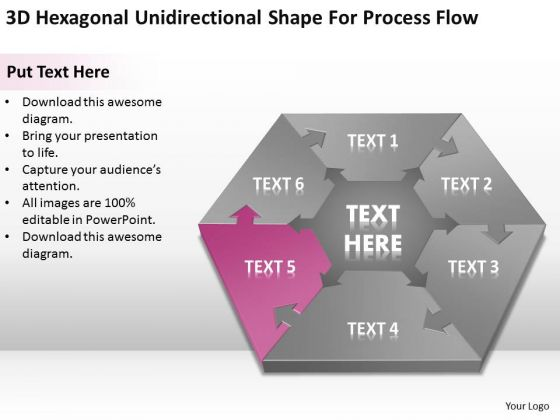 Hexagonal Unidirectional Shape For Process Flow Ppt Simple Business Plans PowerPoint Templates