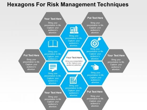 Hexagons For Risk Management Techniques PowerPoint Template