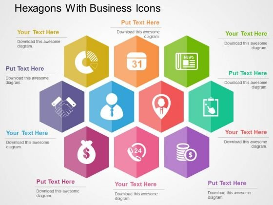 Hexagons With Business Icons PowerPoint Templates