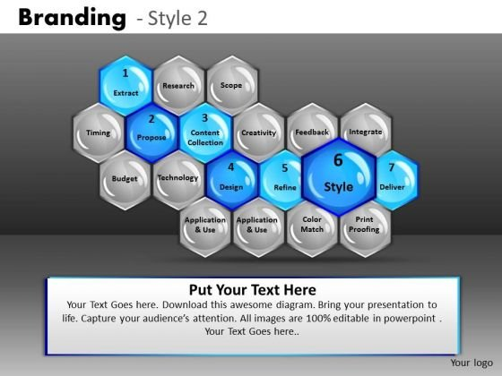 Highlighted Stages Hexagon Process Diagrams PowerPoint Slides