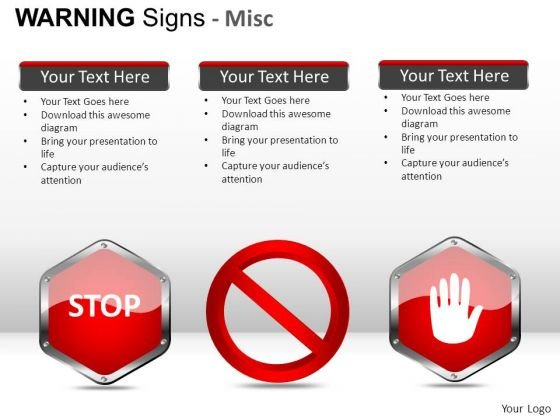 Highway Warning Signs PowerPoint Slides And Ppt Diagram Templates