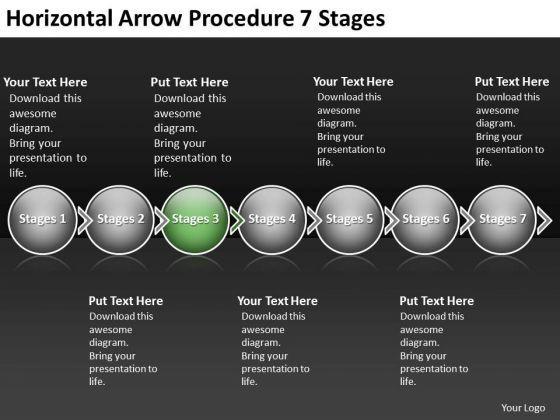 Horizontal Arrow Procedure 7 Stages Flow Chart PowerPoint Slides