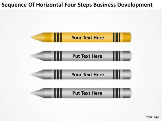 Horizontal Four Steps Business Development Ppt Basic Plan Outline PowerPoint Slides