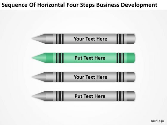 Horizontal Four Steps Business Development Ppt Plan For PowerPoint Templates