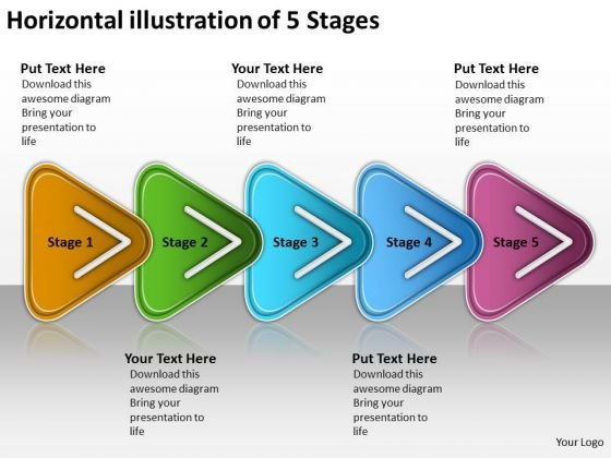Horizontal Illustration Of 5 Stages Vision Office Stencils PowerPoint Templates