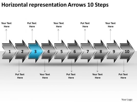 Horizontal Representation Arrows 10 Steps Free Flow Charts PowerPoint Templates