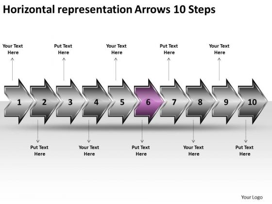 Horizontal Representation Arrows 10 Steps Program Flowchart PowerPoint Slides