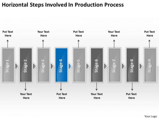 Horizontal Steps Involved Production Processs Slides Flow Chart PowerPoint Templates